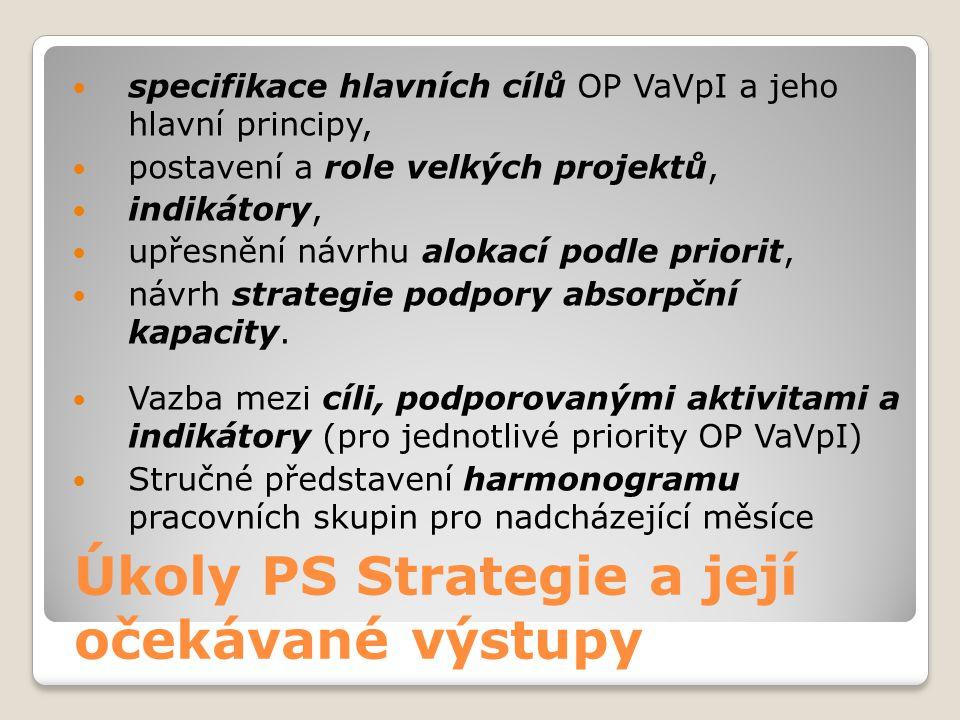 Úkoly PS Strategie a její očekávané výstupy  specifikace hlavních cílů OP VaVpI a jeho hlavní principy,  postavení a role velkých projektů,  indikátory,  upřesnění návrhu alokací podle priorit,  návrh strategie podpory absorpční kapacity.