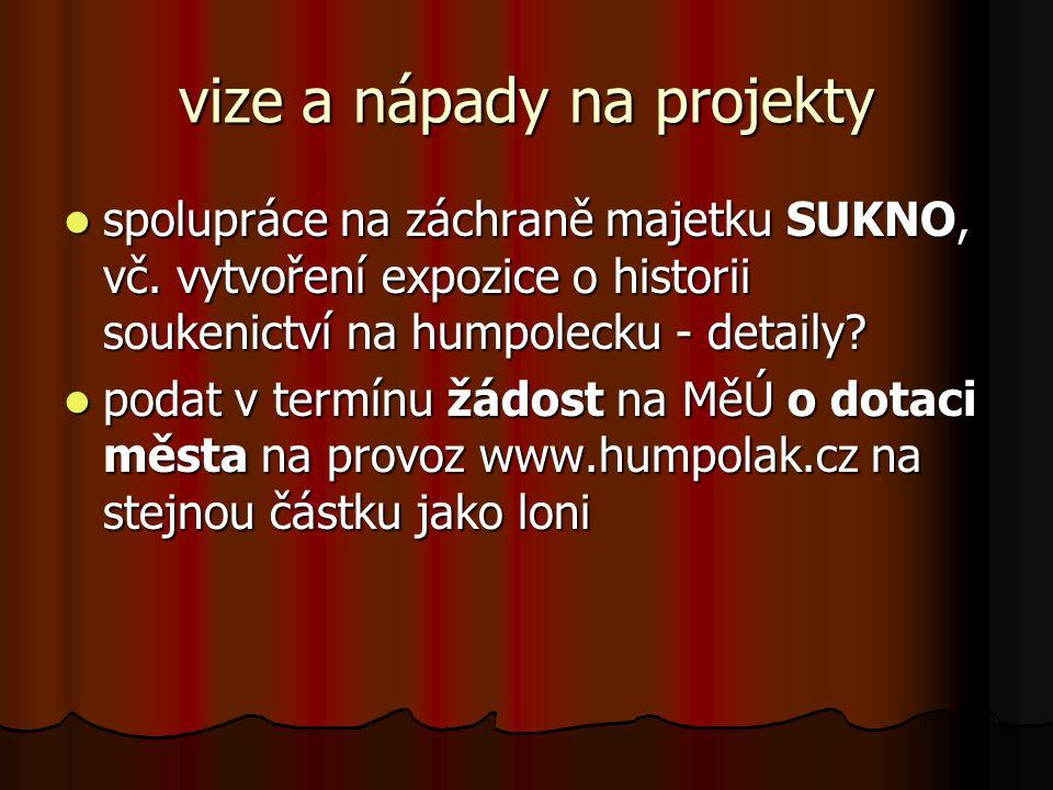 vize a nápady na projekty  spolupráce na záchraně majetku SUKNO, vč.
