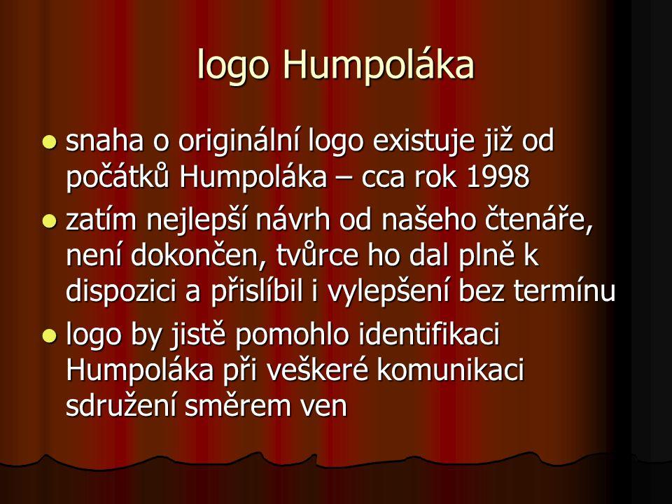 logo Humpoláka  snaha o originální logo existuje již od počátků Humpoláka – cca rok 1998  zatím nejlepší návrh od našeho čtenáře, není dokončen, tvůrce ho dal plně k dispozici a přislíbil i vylepšení bez termínu  logo by jistě pomohlo identifikaci Humpoláka při veškeré komunikaci sdružení směrem ven