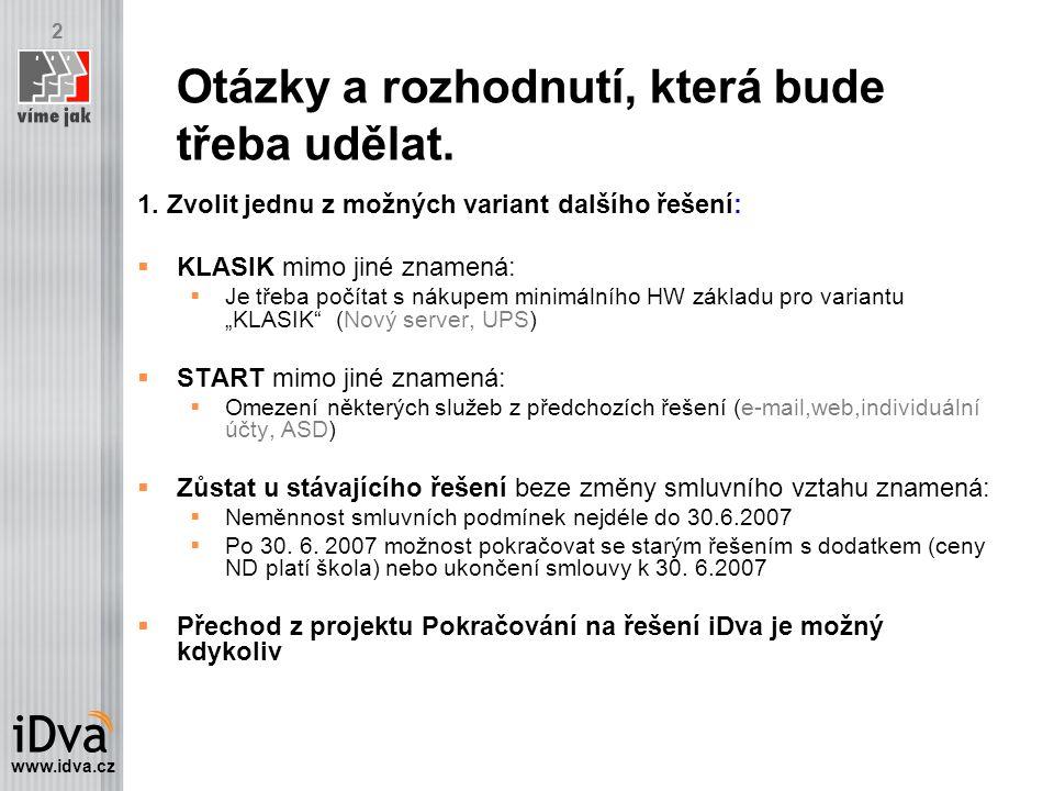 www.idva.cz 2 Otázky a rozhodnutí, která bude třeba udělat.