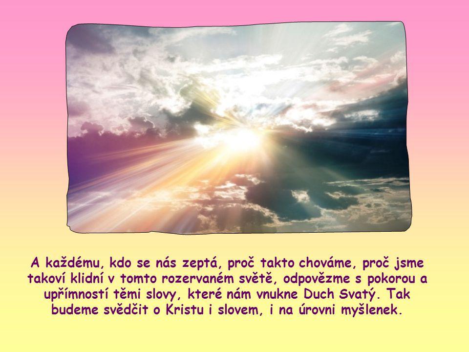 Zvláště vydávejme svědectví naší vzájemnou láskou, naší jednotou, aby klid a čistá radost, které Ježíš slibuje těm, kteří jsou s ním sjednoceni, zapla