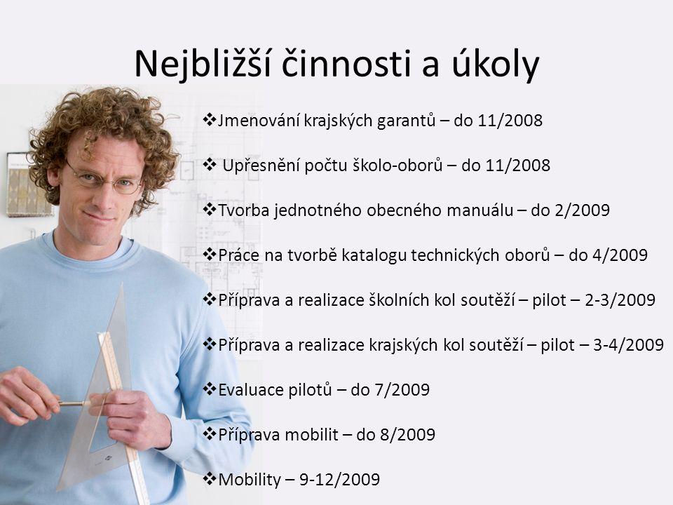 Nejbližší činnosti a úkoly  Jmenování krajských garantů – do 11/2008  Upřesnění počtu školo-oborů – do 11/2008  Tvorba jednotného obecného manuálu
