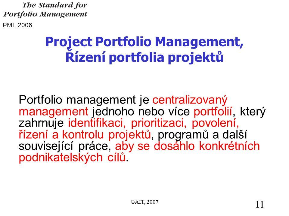 ©AIT, 2007 11 ©AIT, 2007 11 Project Portfolio Management, Řízení portfolia projektů Portfolio management je centralizovaný management jednoho nebo více portfolií, který zahrnuje identifikaci, prioritizaci, povolení, řízení a kontrolu projektů, programů a další související práce, aby se dosáhlo konkrétních podnikatelských cílů.