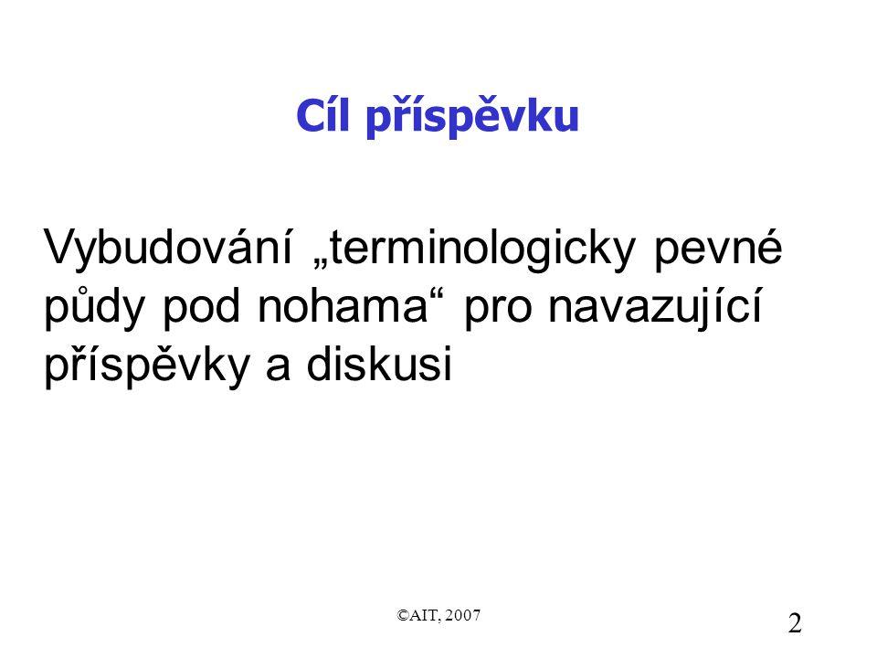 """©AIT, 2007 2 Cíl příspěvku Vybudování """"terminologicky pevné půdy pod nohama pro navazující příspěvky a diskusi"""