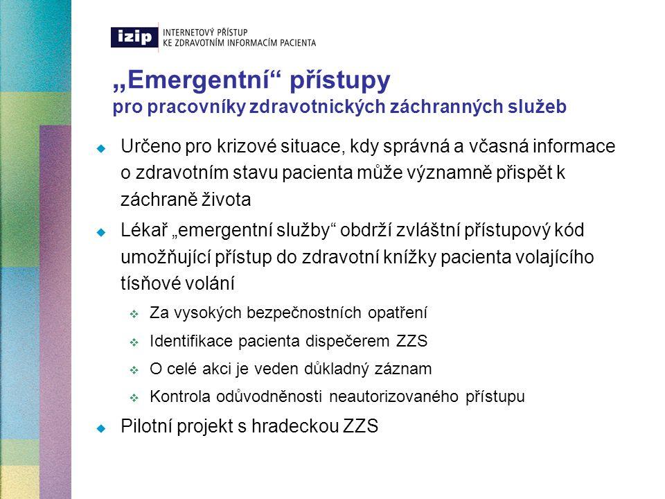 """Ostatní dílčí projekty v roce 2004  Napojení na zaručené elektronické certifikáty využívané  zdravotními pojišťovnami  peněžními ústavy  státní správou  Pacientské záložka """"Poznámky pacienta  prostor pro poznámky a subjektivní postřehy pacienta  Systém upozorňování na nové zápisy v IZIP přímo v """"kartě pacienta ve standardním lékařském IS  Systém nahlížení do zdravotních knížek přímo z """"karty pacienta ve standardním lékařském IS  Nástěnka zdravotnického pracovníka  Následná možnost přenosu vyžádaných informací prostřednictvím mobilních telefonů GSM sítě"""