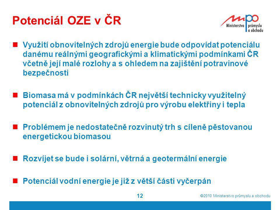  2010  Ministerstvo průmyslu a obchodu Potenciál OZE v ČR  Využití obnovitelných zdrojů energie bude odpovídat potenciálu danému reálnými geografi