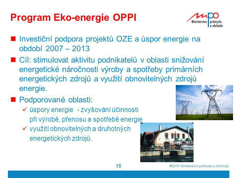  2010  Ministerstvo průmyslu a obchodu Program Eko-energie OPPI  Investiční podpora projektů OZE a úspor energie na období 2007 – 2013  Cíl: stim