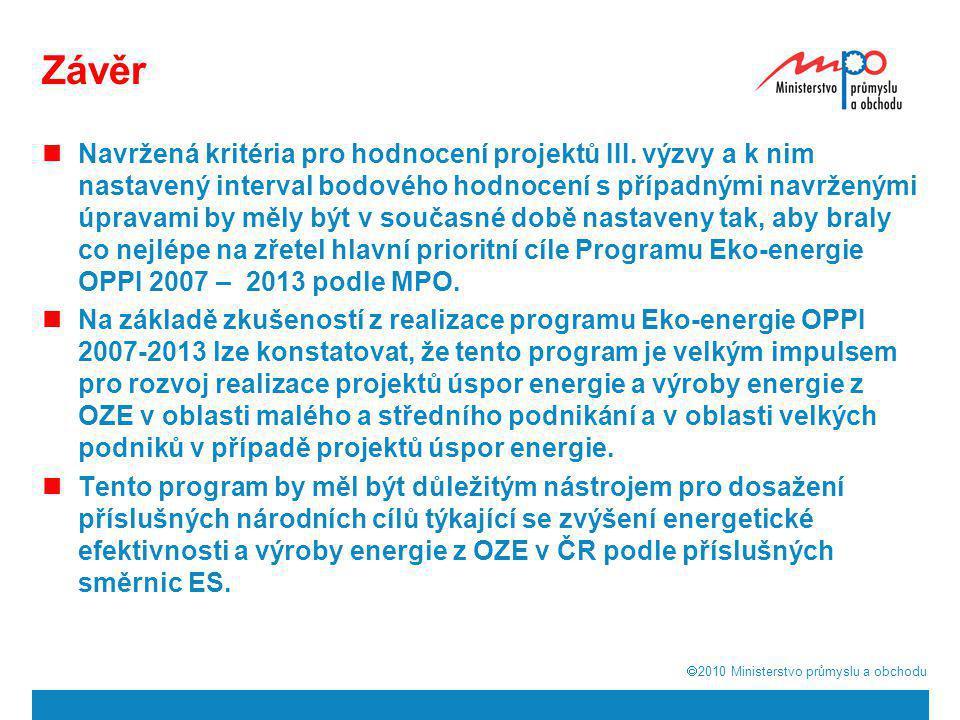  2010  Ministerstvo průmyslu a obchodu Závěr  Navržená kritéria pro hodnocení projektů III. výzvy a k nim nastavený interval bodového hodnocení s