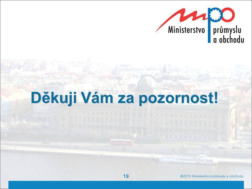  2010  Ministerstvo průmyslu a obchodu 19 Děkuji Vám za pozornost!  2010  Ministerstvo průmyslu a obchodu
