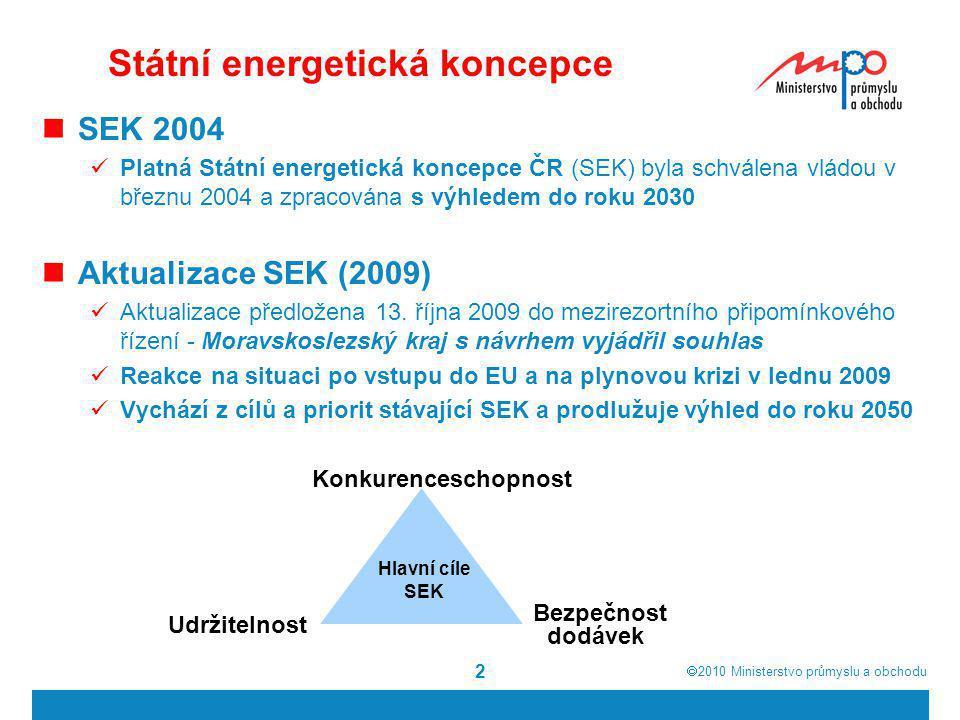  2010  Ministerstvo průmyslu a obchodu Bezpečná a spolehlivá energetika  Obnova a rozvoj výrobních zdrojů a zajištění optimálního palivového mixu  široký zdrojový mix s akcentem na využití tuzemských zdrojů  soběstačnost ve výrobě elektřiny  snižování energetické náročnosti, zvyšování úspor energií  diverzifikace zdrojů z hlediska druhů i teritorií  posilování rezervních kapacit a zásobníků energií  Rozvoj sítí a diverzifikace přepravních tras  obnova a další rozvoj sítí – přeshraniční propojení  usnadnění výstavby liniových staveb a staveb kritické infrastruktury  posílení finanční podpory – stát, EU, finanční instituce  rozvoj systémů a nástrojů řízení elektrizační soustavy využívající nové technologie (inteligentní sítě)  regionální spolupráce v oblasti řízení soustav a rezerv
