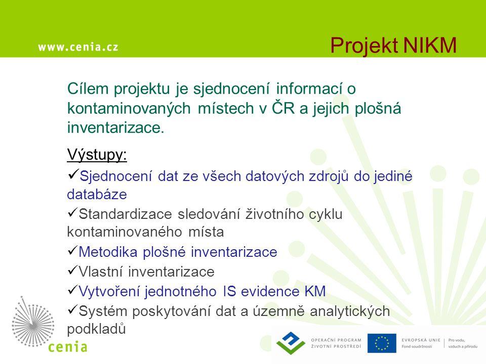 Projekt NIKM Cílem projektu je sjednocení informací o kontaminovaných místech v ČR a jejich plošná inventarizace. Výstupy:  Sjednocení dat ze všech d