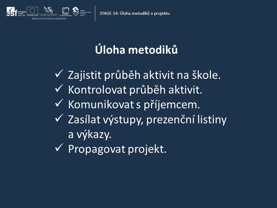 Úloha metodiků STAGE 14: Úloha metodiků v projektu  Zajistit průběh aktivit na škole.