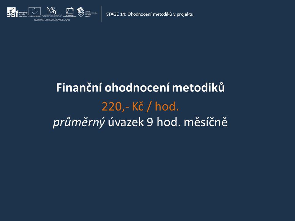 STAGE 14: Ohodnocení metodiků v projektu Finanční ohodnocení metodiků 220,- Kč / hod.