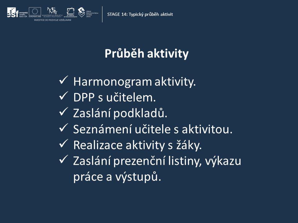 Průběh aktivity STAGE 14: Typický průběh aktivit  Harmonogram aktivity.