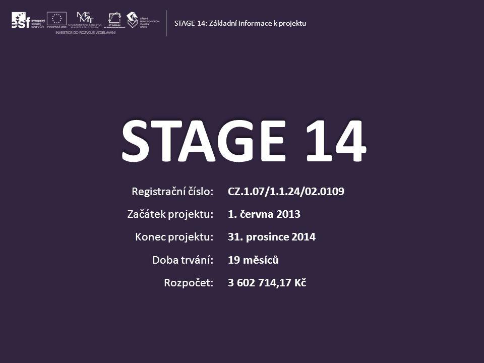 STAGE 14 STAvebnictví a GEodezie [steɪdʒ] – jeviště, stupeň STAGE 14: Název projektu