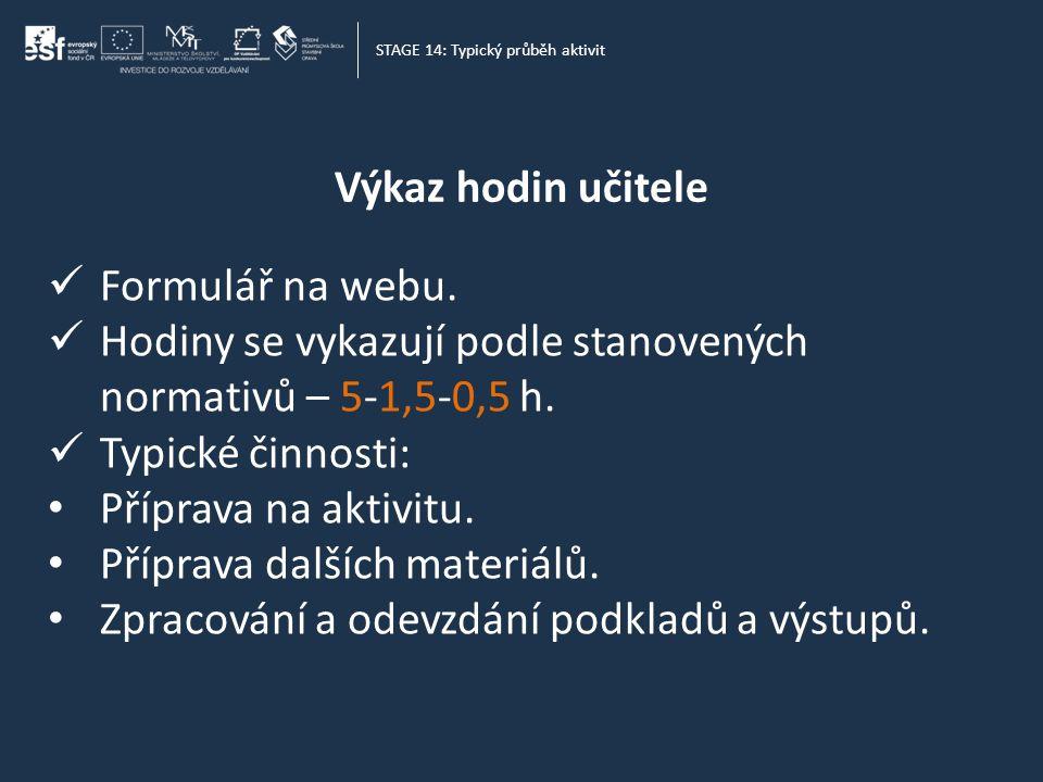 Výkaz hodin učitele STAGE 14: Typický průběh aktivit  Formulář na webu.