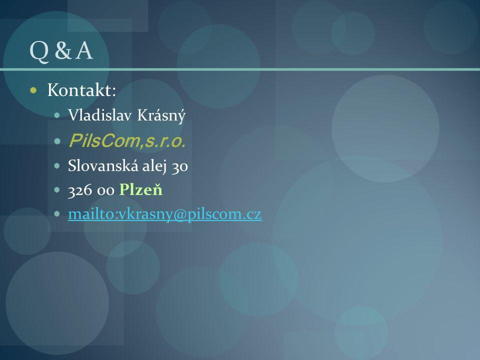 Q & A  Kontakt:  Vladislav Krásný  PilsCom,s.r.o.