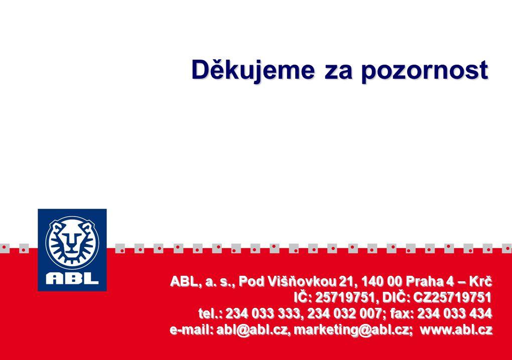 ABL, a. s., Pod Višňovkou 21, 140 00 Praha 4 – Krč IČ: 25719751, DIČ: CZ25719751 tel.: 234 033 333, 234 032 007; fax: 234 033 434 e-mail: abl@abl.cz,