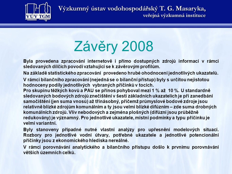 Závěry 2008 Byla provedena zpracování internetově i přímo dostupných zdrojů informací v rámci sledovaných dílčích povodí vztahující se k závěrovým pro