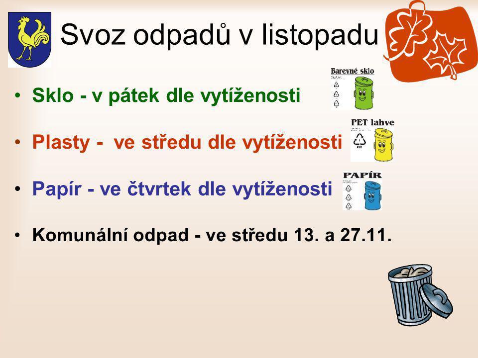 Svoz odpadů v listopadu •Sklo - v pátek dle vytíženosti •Plasty - ve středu dle vytíženosti •Papír - ve čtvrtek dle vytíženosti •Komunální odpad - ve středu 13.
