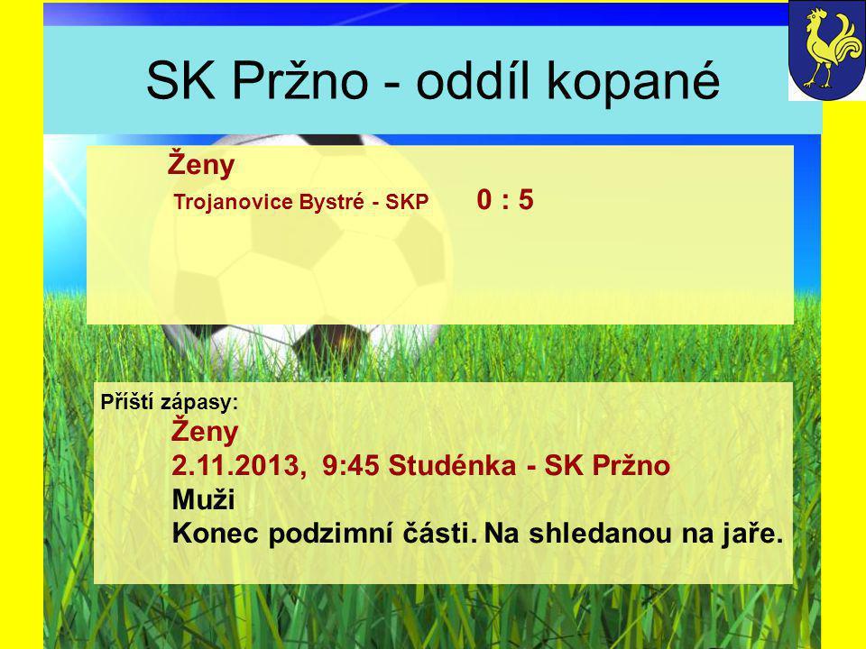 SK Pržno - oddíl kopané Příští zápasy: Ženy 2.11.2013, 9:45 Studénka - SK Pržno Muži Konec podzimní části.