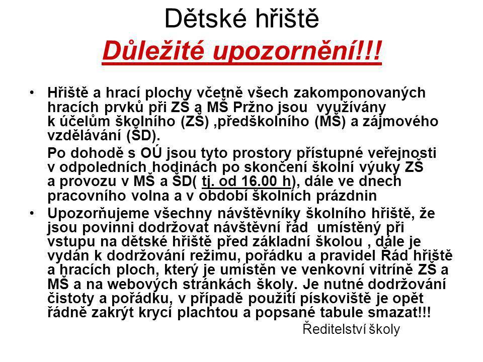 Dětské hřiště Důležité upozornění!!.