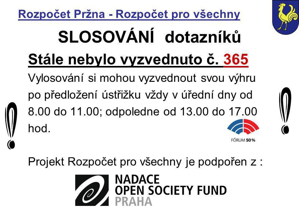 Rozpočet Pržna - Rozpočet pro všechny SLOSOVÁNÍ dotazníků Stále nebylo vyzvednuto č.