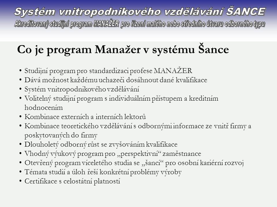 Co je program Manažer v systému Šance •Studijní program pro standardizaci profese MANAŽER •Dává možnost každému uchazeči dosáhnout dané kvalifikace •S