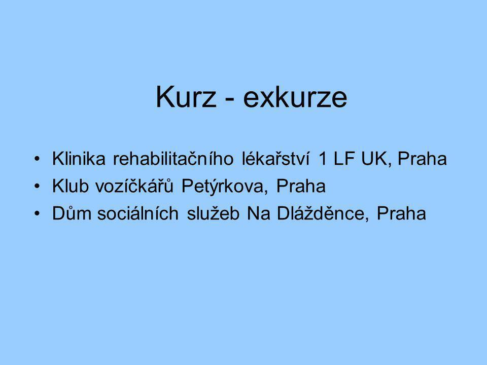Kurz - exkurze •Klinika rehabilitačního lékařství 1 LF UK, Praha •Klub vozíčkářů Petýrkova, Praha •Dům sociálních služeb Na Dlážděnce, Praha