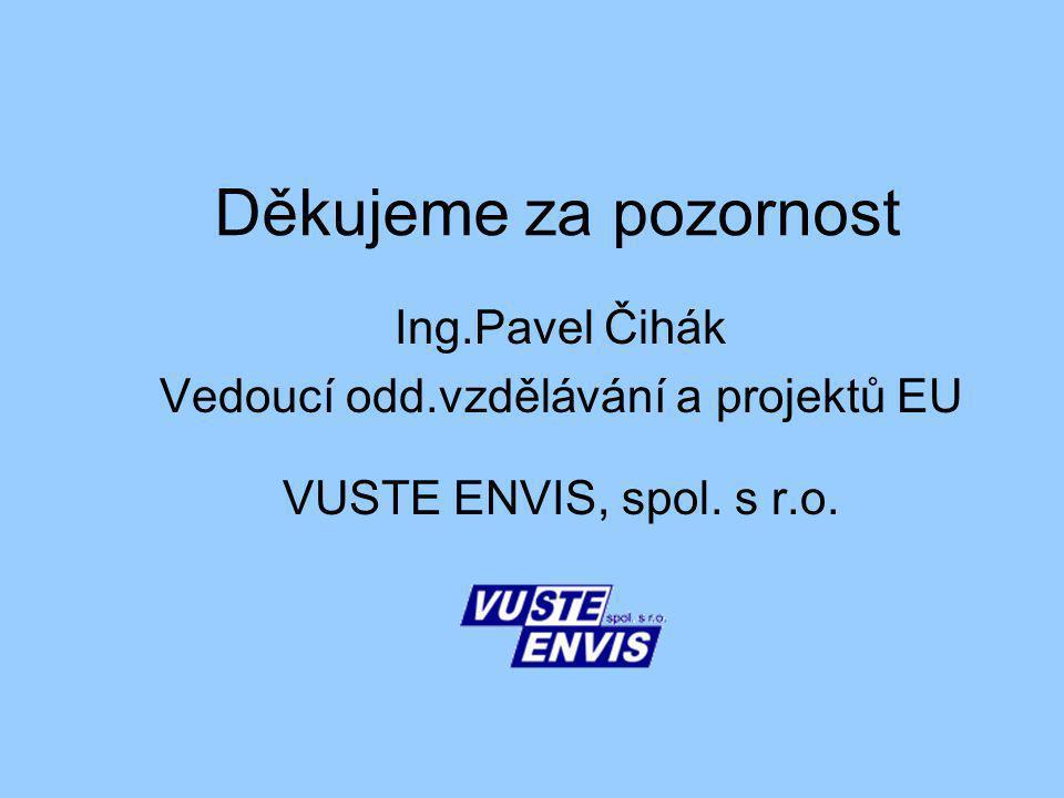 Děkujeme za pozornost Ing.Pavel Čihák Vedoucí odd.vzdělávání a projektů EU VUSTE ENVIS, spol.