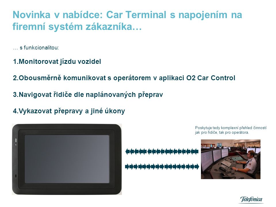 Car Terminal - funkce Skládá se ze dvou částí: -Přepravy: slouží k vykazování předem naplánovaných úkonů a činností během přepravy.