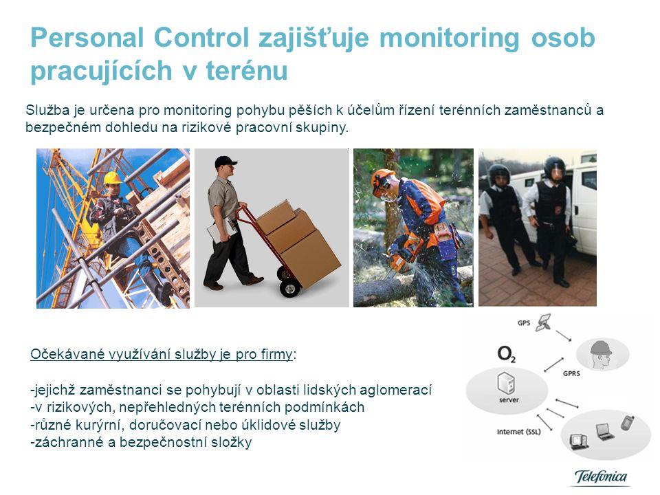 Personal Control zajišťuje monitoring osob pracujících v terénu Služba je určena pro monitoring pohybu pěších k účelům řízení terénních zaměstnanců a
