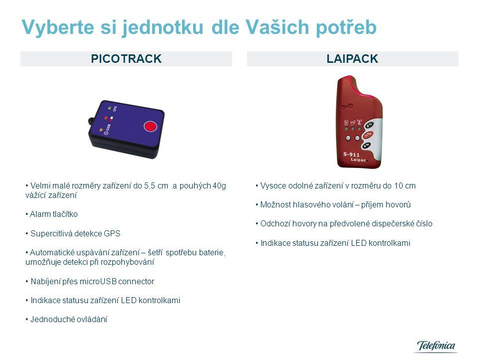 PICOTRACK Vyberte si jednotku dle Vašich potřeb LAIPACK • Velmi malé rozměry zařízení do 5,5 cm a pouhých 40g vážící zařízení • Alarm tlačítko • Super