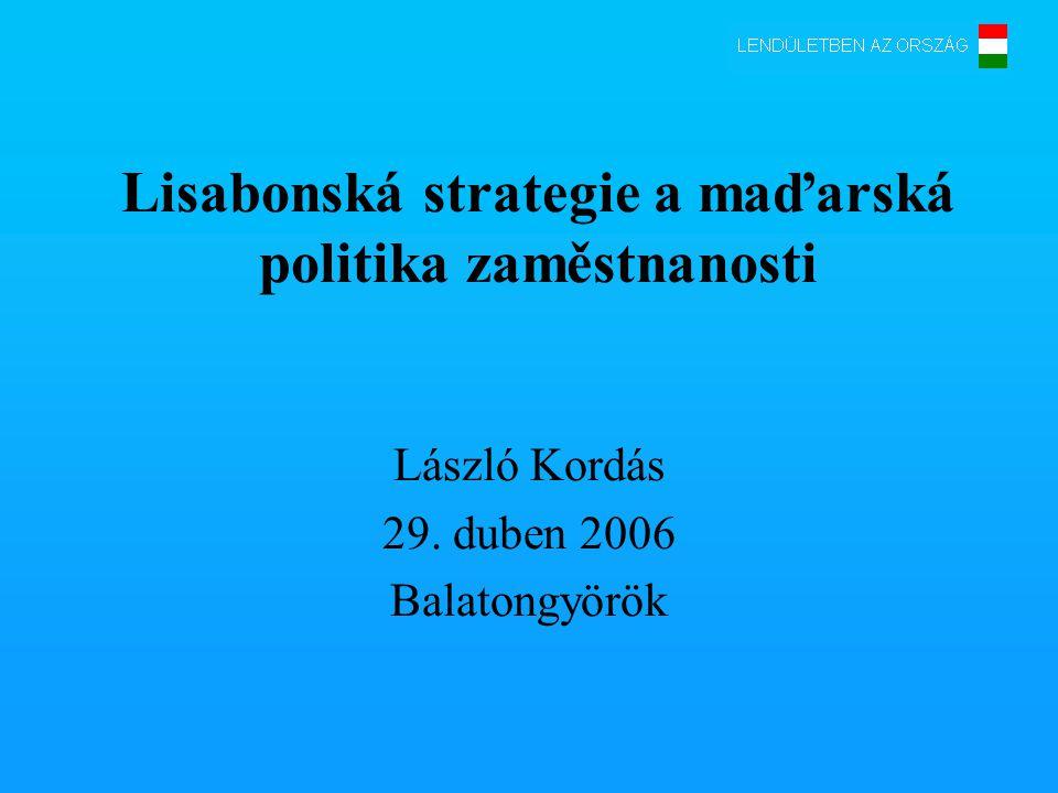 Lisabonská strategie a maďarská politika zaměstnanosti László Kordás 29. duben 2006 Balatongyörök