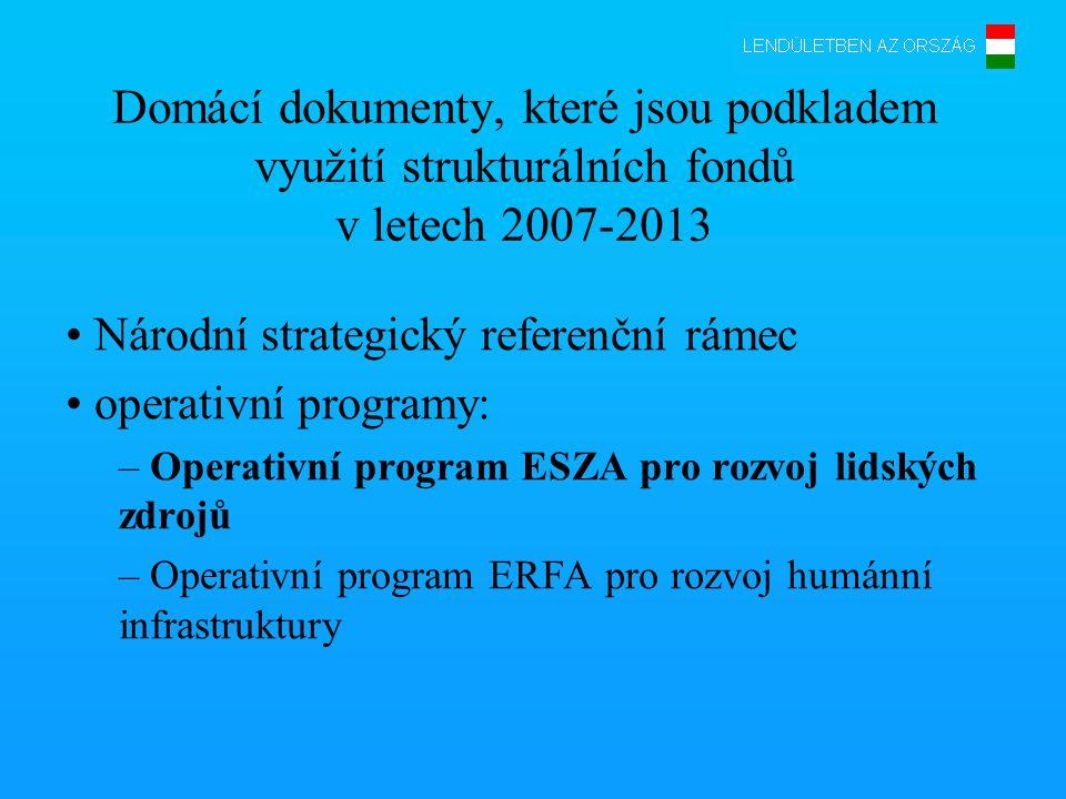 Domácí dokumenty, které jsou podkladem využití strukturálních fondů v letech 2007-2013 • Národní strategický referenční rámec • operativní programy: – Operativní program ESZA pro rozvoj lidských zdrojů – Operativní program ERFA pro rozvoj humánní infrastruktury
