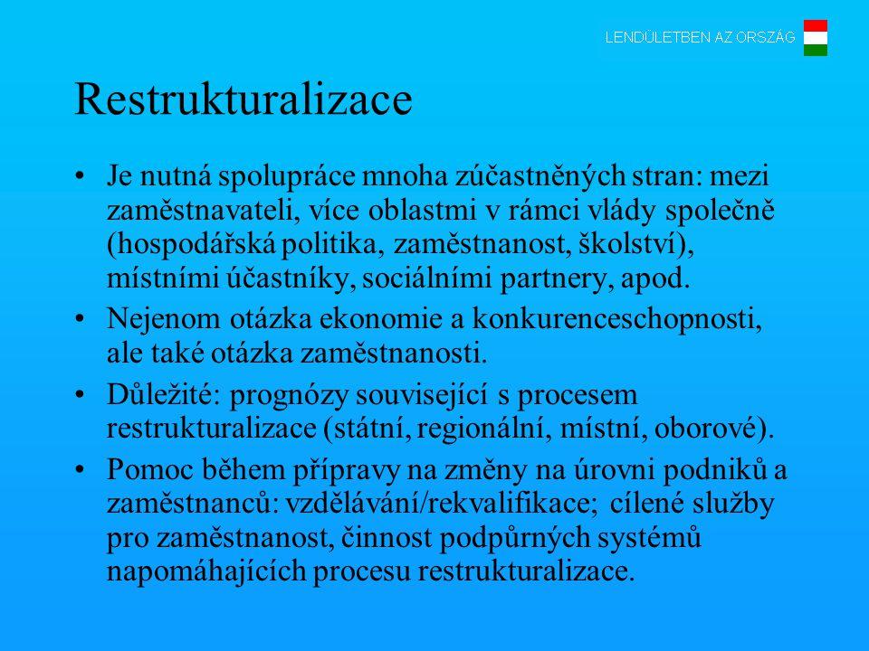 Restrukturalizace •Je nutná spolupráce mnoha zúčastněných stran: mezi zaměstnavateli, více oblastmi v rámci vlády společně (hospodářská politika, zaměstnanost, školství), místními účastníky, sociálními partnery, apod.