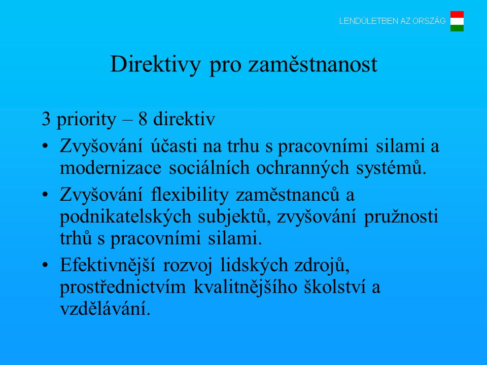 Direktivy pro zaměstnanost 3 priority – 8 direktiv •Zvyšování účasti na trhu s pracovními silami a modernizace sociálních ochranných systémů.