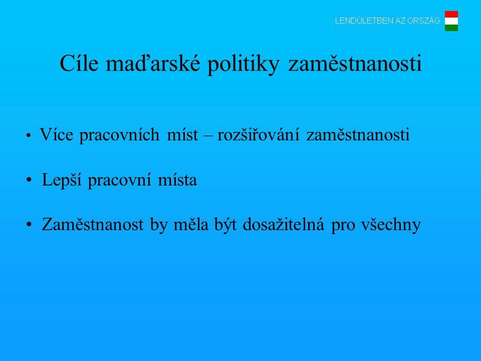 Cíle maďarské politiky zaměstnanosti • Více pracovních míst – rozšiřování zaměstnanosti • Lepší pracovní místa • Zaměstnanost by měla být dosažitelná pro všechny