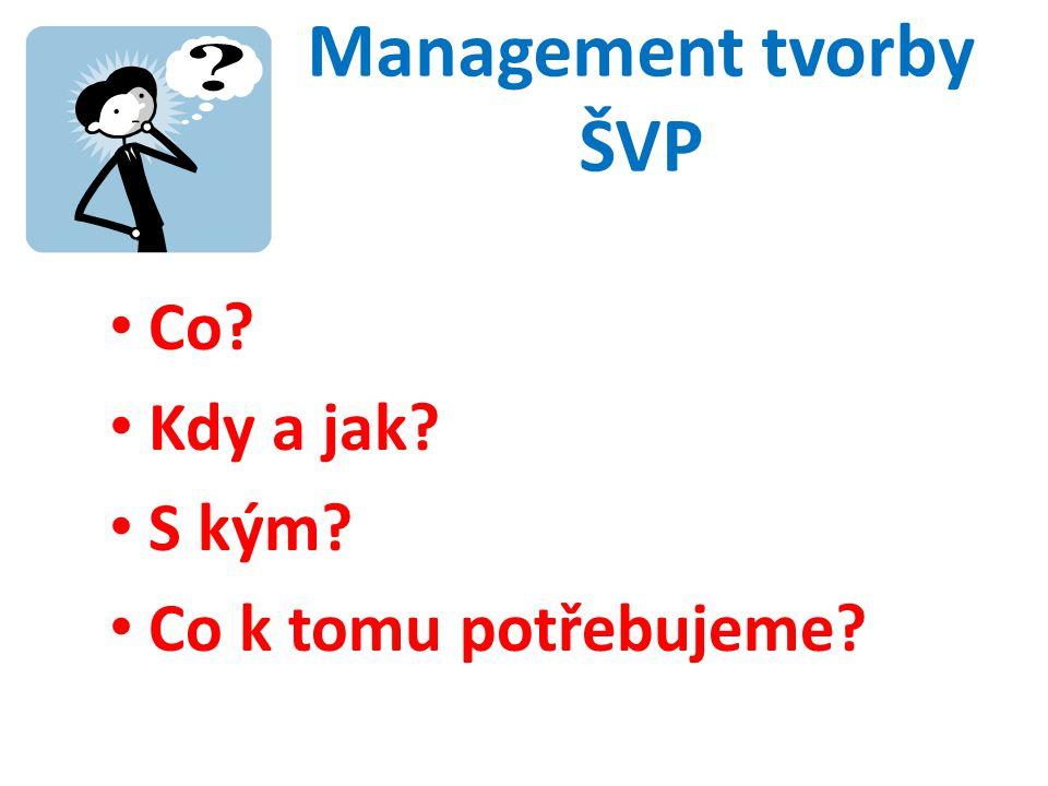 Management tvorby ŠVP • Co • Kdy a jak • S kým • Co k tomu potřebujeme