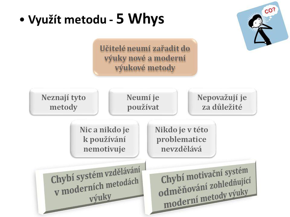• Využít metodu - 5 Whys Učitelé neumí zařadit do výuky nové a moderní výukové metody Neznají tyto metody Neumí je používat Nepovažují je za důležité Nic a nikdo je k používání nemotivuje Nikdo je v této problematice nevzdělává