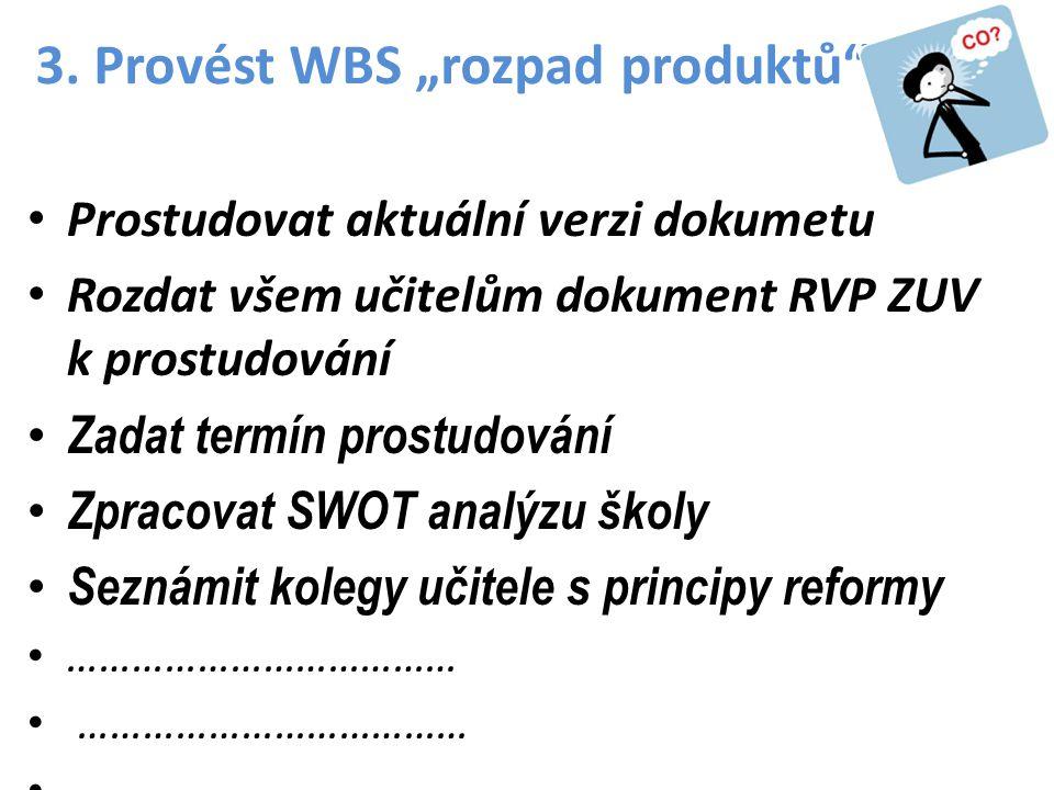 """3. Provést WBS """"rozpad produktů"""" •P•Prostudovat aktuální verzi dokumetu •R•Rozdat všem učitelům dokument RVP ZUV k prostudování •Z•Zadat termín prostu"""