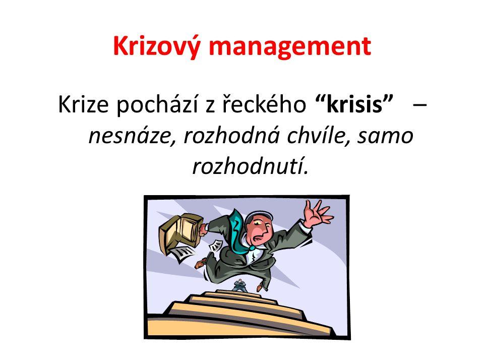 Krizový management Krize pochází z řeckého krisis – nesnáze, rozhodná chvíle, samo rozhodnutí.