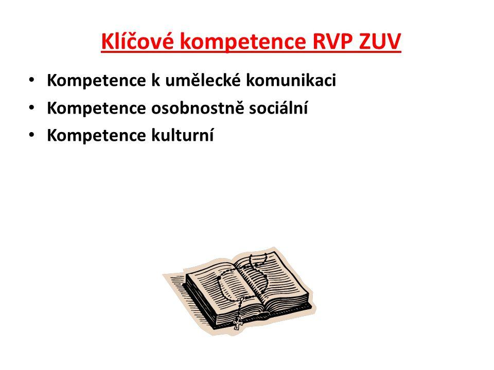 Klíčové kompetence RVP ZUV •K•Kompetence k umělecké komunikaci •K•Kompetence osobnostně sociální •K•Kompetence kulturní