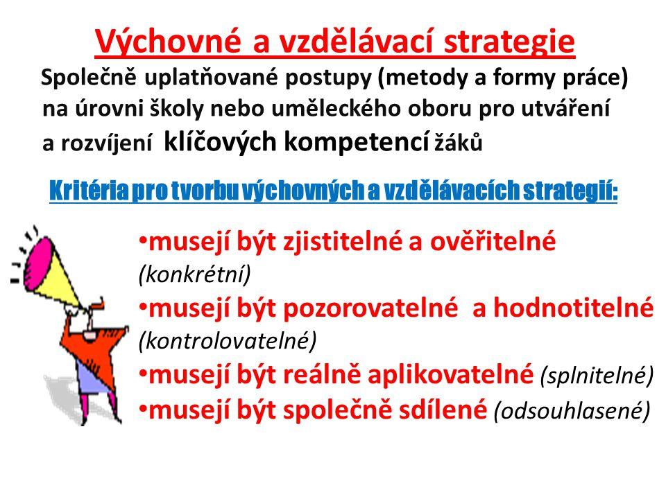 Výchovné a vzdělávací strategie Společně uplatňované postupy (metody a formy práce) na úrovni školy nebo uměleckého oboru pro utváření a rozvíjení klíčových kompetencí žáků • musejí být zjistitelné a ověřitelné (konkrétní) • musejí být pozorovatelné a hodnotitelné (kontrolovatelné) • musejí být reálně aplikovatelné (splnitelné) • musejí být společně sdílené (odsouhlasené) Kritéria pro tvorbu výchovných a vzdělávacích strategií: