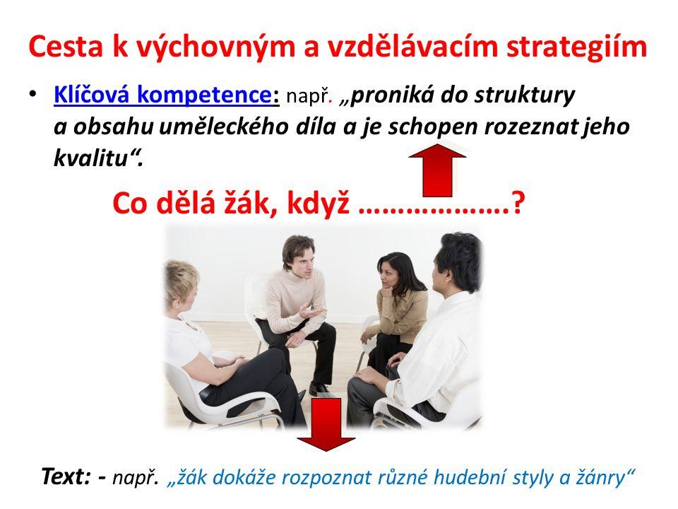 Cesta k výchovným a vzdělávacím strategiím •K•Klíčová kompetence: např.