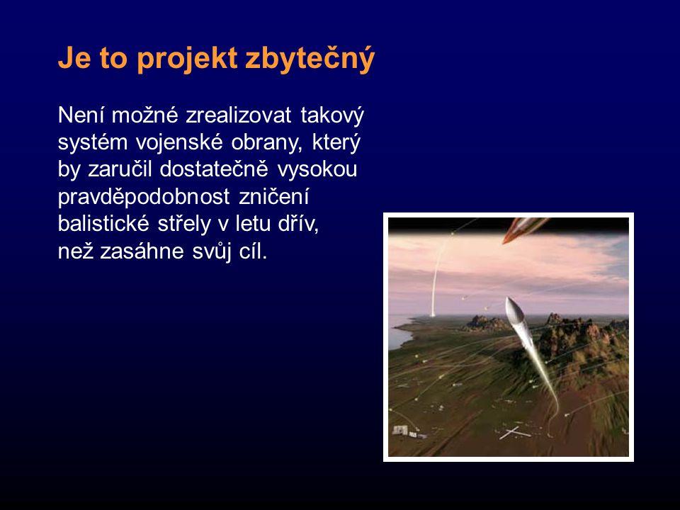 Je to projekt zbytečný Není možné zrealizovat takový systém vojenské obrany, který by zaručil dostatečně vysokou pravděpodobnost zničení balistické střely v letu dřív, než zasáhne svůj cíl.