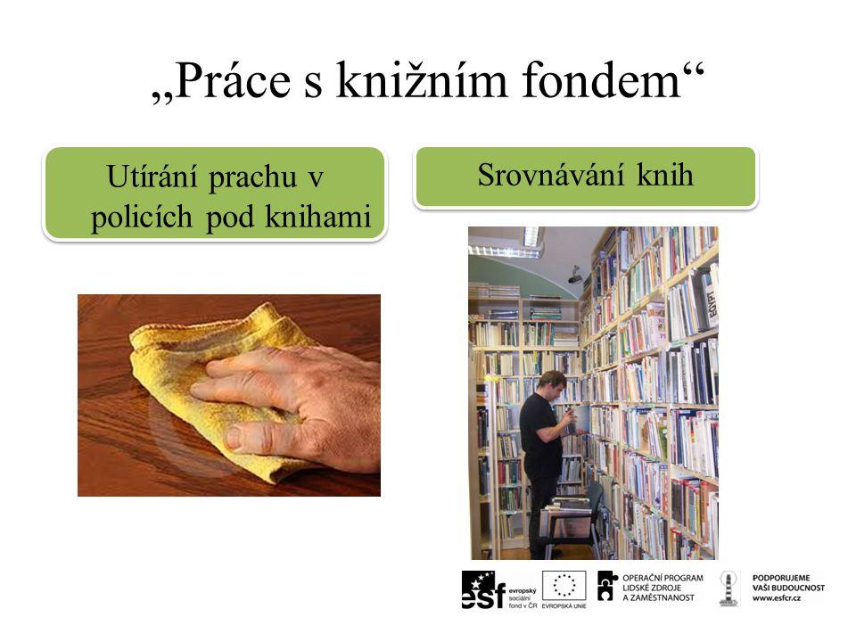 """""""Práce s knižním fondem"""" Utírání prachu v policích pod knihami Srovnávání knih"""