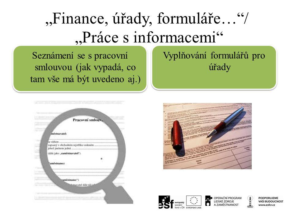 """""""Finance, úřady, formuláře…""""/ """"Práce s informacemi"""" Seznámení se s pracovní smlouvou (jak vypadá, co tam vše má být uvedeno aj.) Vyplňování formulářů"""