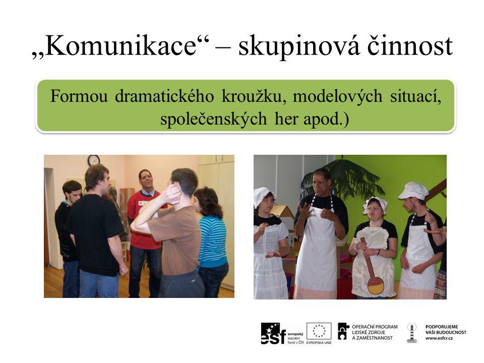 """""""Komunikace"""" – skupinová činnost Formou dramatického kroužku, modelových situací, společenských her apod.)"""