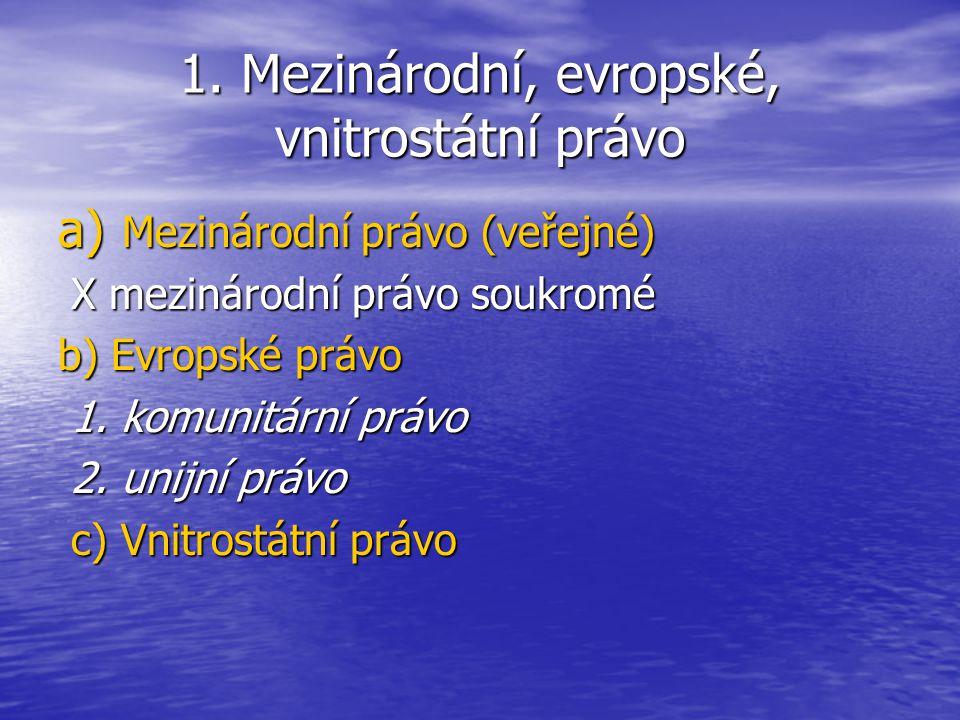 1. Mezinárodní, evropské, vnitrostátní právo a) Mezinárodní právo (veřejné) X mezinárodní právo soukromé X mezinárodní právo soukromé b) Evropské práv